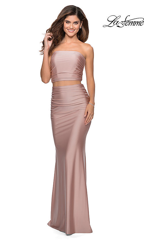 Image of long two-piece strapless La Femme prom dress. Style: LF-28703 Detail Image 3