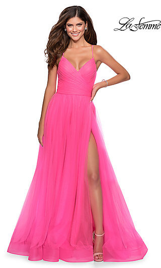 Long La Femme A-Line Formal Dress with an Open Back
