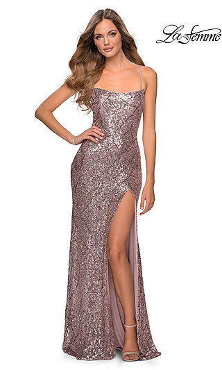Long Fitted Open-Back Sequin Formal Dress