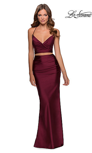 Long Open-Back Two-Piece Fitted Formal Dress