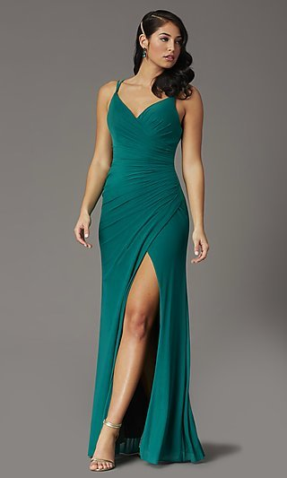 Faux-Wrap Long V-neck Plus-Size Prom Dress