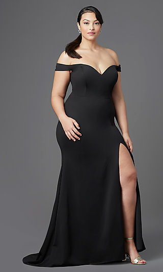 Long Off-Shoulder Plus Size Prom Dress by PromGirl