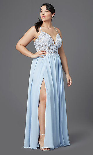 Plus-Size Long Illusion-Bodice PromGirl Prom Dress