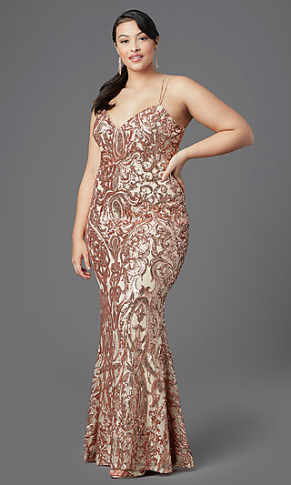 Open-Back Plus-Size Long Sequin Prom Dress by PromGirl