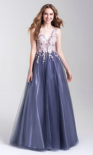 A-Line Formal Dress with an Embroidered Bodice