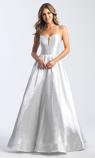 Long Silver Formal Prom Dress by Madison James