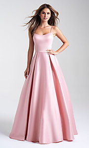 Image of satin Madison James classic long formal prom dress. Style: NM-20-314 Front Image