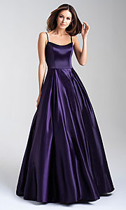 Image of satin Madison James classic long formal prom dress. Style: NM-20-314 Detail Image 1