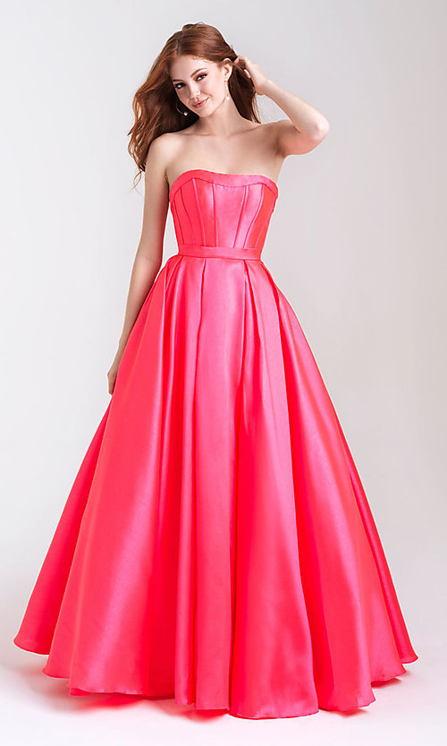 Image of a-line formal strapless prom dress with pockets. Style: NM-20-323 Front Image