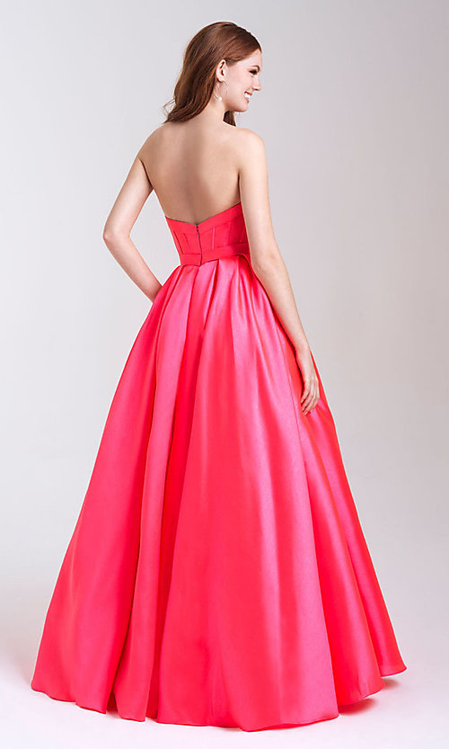 Image of a-line formal strapless prom dress with pockets. Style: NM-20-323 Back Image