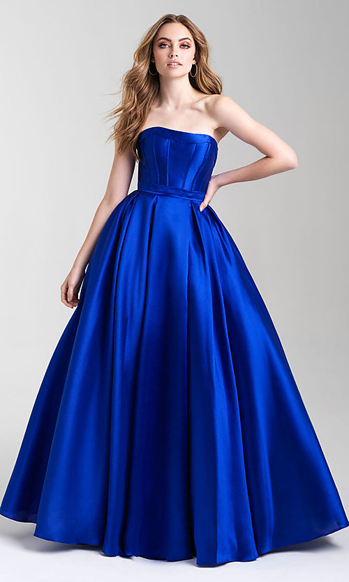 Image of a-line formal strapless prom dress with pockets. Style: NM-20-323 Detail Image 3