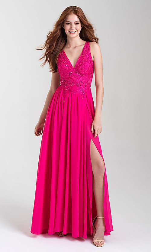 Image of long Madison James chiffon formal prom dress. Style: NM-20-325 Front Image