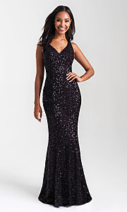 Image of Madison James long sequin formal prom dress. Style: NM-20-331 Detail Image 1