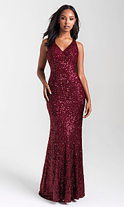 Image of Madison James long sequin formal prom dress. Style: NM-20-331 Back Image