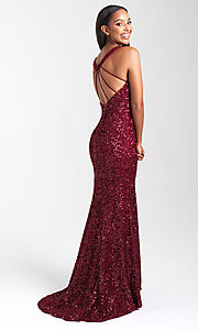 Image of Madison James long sequin formal prom dress. Style: NM-20-331 Front Image