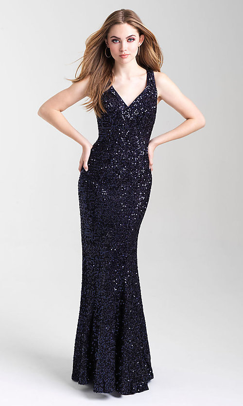 Image of Madison James long sequin formal prom dress. Style: NM-20-331 Detail Image 2