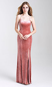 Image of velvet open-back formal prom dress with scoop neck. Style: NM-20-337 Front Image