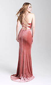 Image of velvet open-back formal prom dress with scoop neck. Style: NM-20-337 Back Image