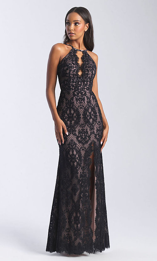 Image of long lace sexy formal prom dress with cut out. Style: NM-20-340 Detail Image 1