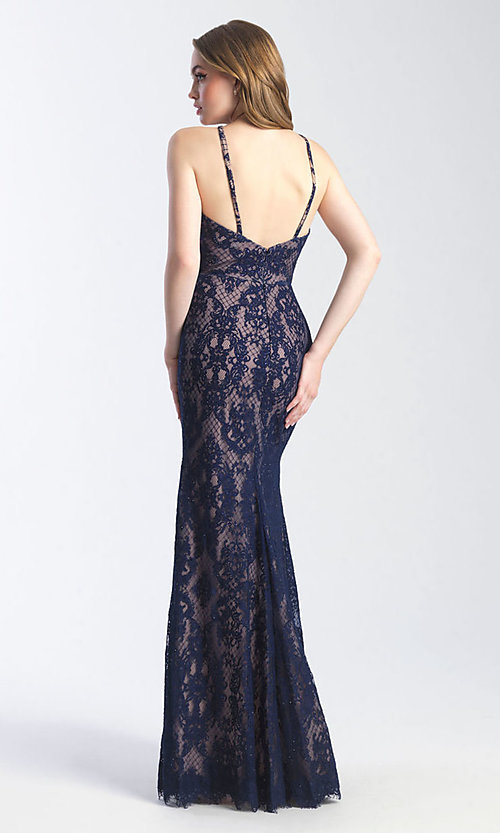 Image of long lace sexy formal prom dress with cut out. Style: NM-20-340 Back Image