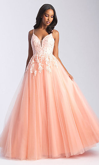 Long Embroidered-Bodice A-Line Formal Dress
