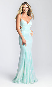 Image of long sequin formal prom dress by Madison James. Style: NM-20-345 Back Image