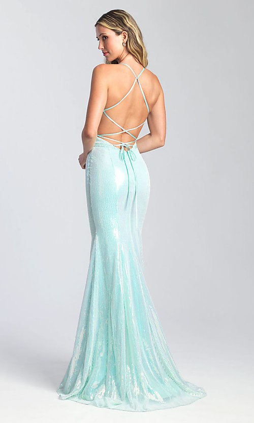 Image of long sequin formal prom dress by Madison James. Style: NM-20-345 Detail Image 2