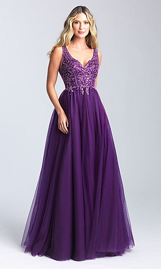V-Neck A-Line Formal Dress with a Sequined Bodice