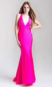 Image of Madison James deep-v-neck tight formal prom dress. Style: NM-20-358 Front Image