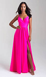 Image of long v-neck a-line jersey formal prom dress. Style: NM-20-359 Detail Image 3