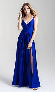 Image of long v-neck a-line jersey formal prom dress. Style: NM-20-359 Detail Image 4
