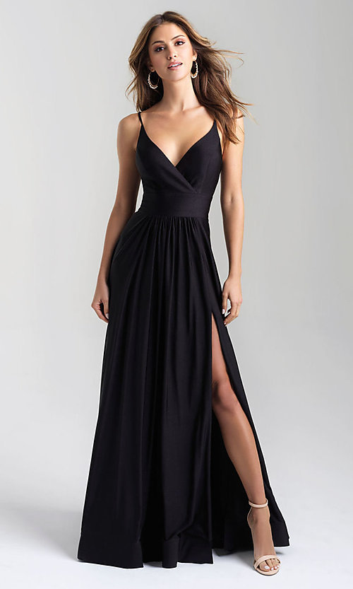 Image of long v-neck a-line jersey formal prom dress. Style: NM-20-359 Front Image