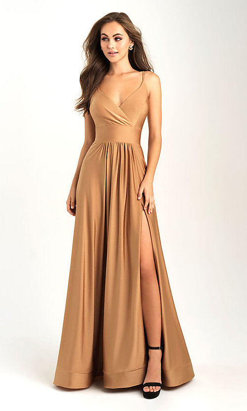 Image of long v-neck a-line jersey formal prom dress. Style: NM-20-359 Detail Image 1