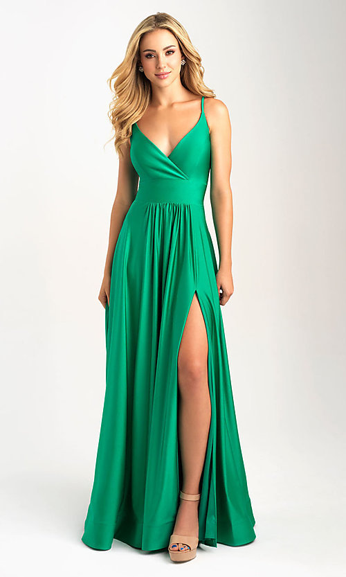 Image of long v-neck a-line jersey formal prom dress. Style: NM-20-359 Detail Image 2