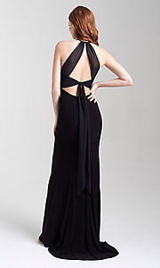 Image of long jersey high-neck open-back formal prom dress. Style: NM-20-371 Back Image