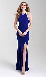 Image of long jersey high-neck open-back formal prom dress. Style: NM-20-371 Detail Image 3