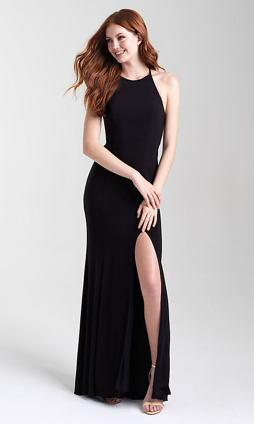 Image of long jersey high-neck open-back formal prom dress. Style: NM-20-371 Front Image