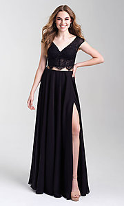 Image of long v-neck lace-top two-piece formal prom dress. Style: NM-20-377 Front Image