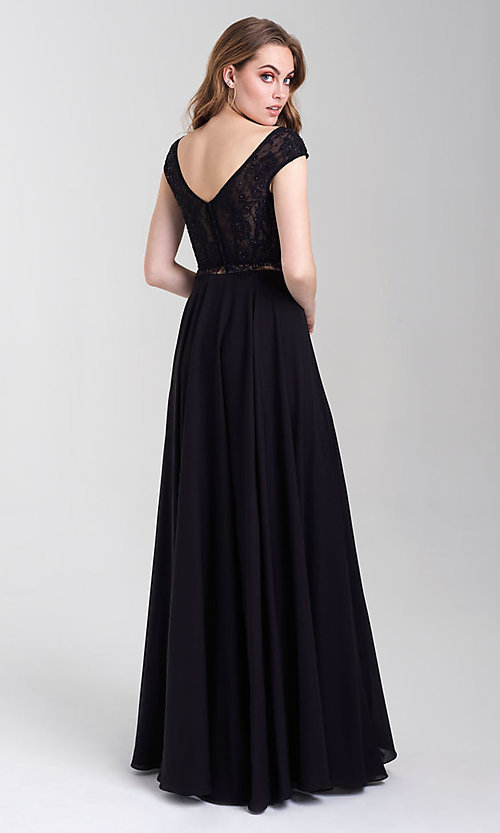 Image of long v-neck lace-top two-piece formal prom dress. Style: NM-20-377 Back Image