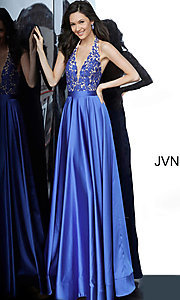 Image of JVN by Jovani open-back halter formal prom dress. Style: JO-JVN-JVN00927 Front Image