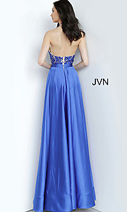 Image of JVN by Jovani open-back halter formal prom dress. Style: JO-JVN-JVN00927 Back Image