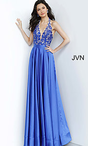 Image of JVN by Jovani open-back halter formal prom dress. Style: JO-JVN-JVN00927 Detail Image 1