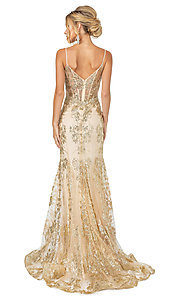 Image of corset-bodice long sparkly beaded formal dress. Style: DQ-4118 Back Image