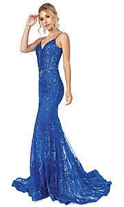 Image of corset-bodice long sparkly beaded formal dress. Style: DQ-4118 Front Image