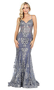 Image of corset-bodice long sparkly beaded formal dress. Style: DQ-4118 Detail Image 3