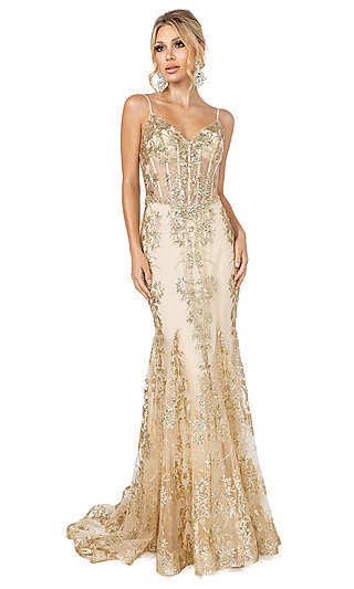 Corset-Bodice Long Sparkly Beaded Formal Dress