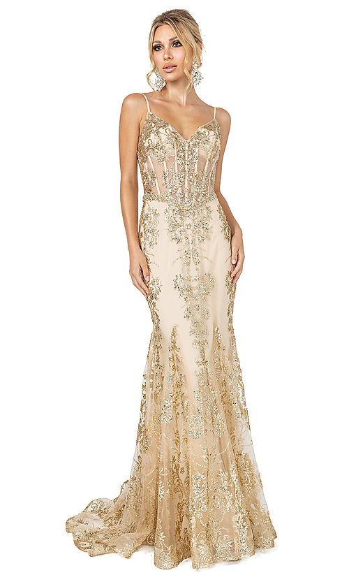 Image of corset-bodice long sparkly beaded formal dress. Style: DQ-4118 Detail Image 1