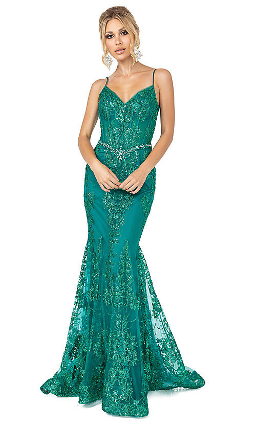 Image of corset-bodice long sparkly beaded formal dress. Style: DQ-4118 Detail Image 2