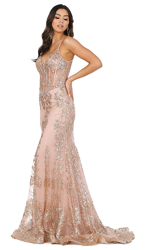 Image of corset-bodice long sparkly beaded formal dress. Style: DQ-4118 Detail Image 5