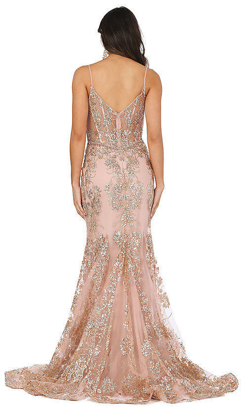 Image of corset-bodice long sparkly beaded formal dress. Style: DQ-4118 Detail Image 6